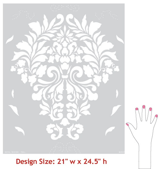 size of stencil: Large Wall, Damasks, Stencil Patterns, Fabrics, Damask Stencil, Design Studios, Damask Wall Stencils, Royal Design