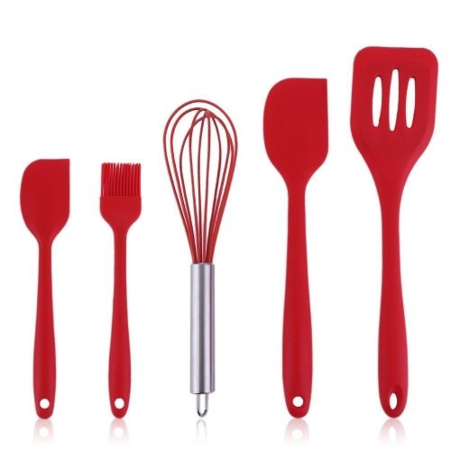 (11.19$)  Watch now - http://aikxd.worlditems.win/all/product.php?id=H18681 - 5pcs Home Heat-Resistant Cooking Utensil Set Non-Stick Food Grade Silicone Baking Spatula Tools Scraper Basting Brush Egg Beater Turner Kitchen Accessories