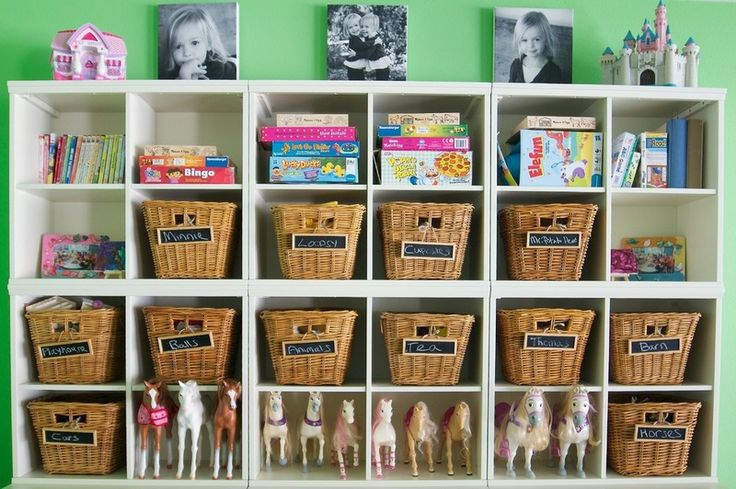 Storage-like the baskets and put chalkboard badges for descriptions or pictures of what goes in the baskets or numbers.