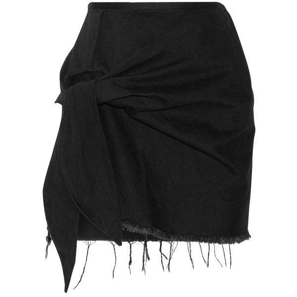 Marques' Almeida Knotted frayed denim mini skirt ($365) ❤ liked on Polyvore featuring skirts, mini skirts, saia, mini skirt, ripped denim skirt, denim skirt, short skirts and denim miniskirt