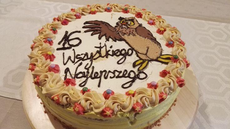 Tort karmelowy tort z sową
