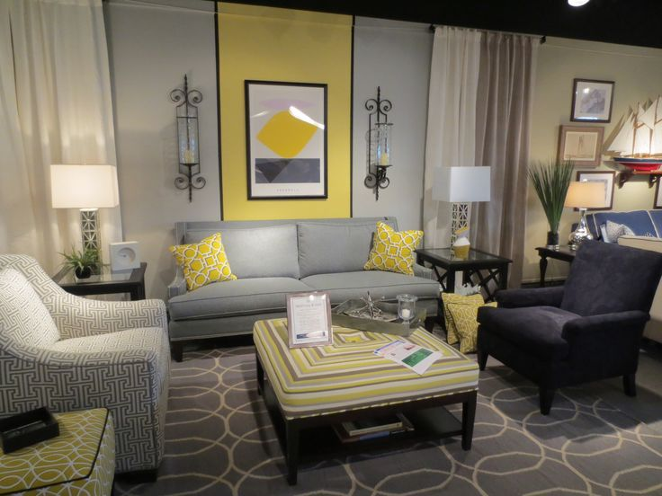 smokey hues from light grey to dark charcoal mixed with sunny yellows more geometrics by libby langdon for braxton culler 2013 fall high point furniture