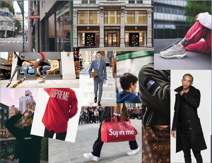 My photographic mood board shows what my idea is all about and what your expected to see in my final design. For example you can see where people will shops for these items as well as for the individual items. It also shows models and some of the pieces that are provided by both of the brands with famous actos jaden smith in louis vuitton outfit and a girl in a supreme bogo. It also shows what the target audience are like with two boys skateboarding with supreme seen as streatwear