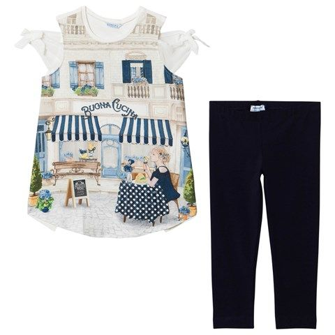 Navy Italian Scene and Diamante Tee and Leggings Set