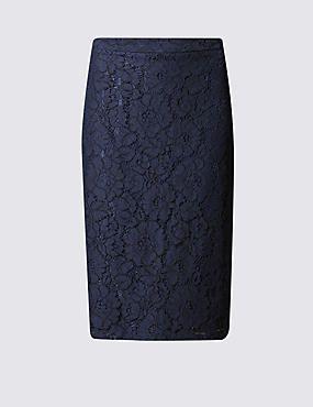 Floral Lace A-Line Pencil Skirt