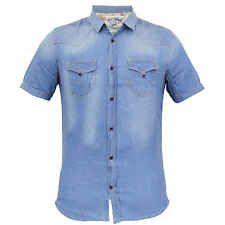 Mens Denim Shirt Soul Star Vintage Top Short Sleeved Faded Collared Summer New