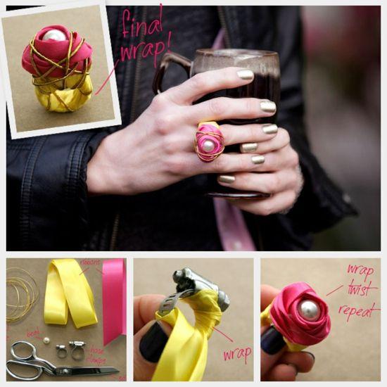 diy fashion Rosenring aus Stoffband, Draht und Perle