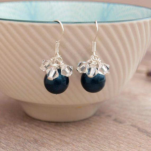 Navy Blue Bridal Earrings  Dark Blue Wedding Earrings  Navy