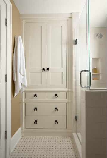 A custom floor to ceiling bathroom cabinet offers plenty of space for towels and. 78  images about Redo my Bathroom  Ideas  on Pinterest   Vanities