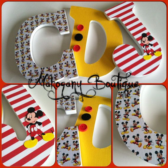 Custom Decorated Wooden Letters - Mickey Mouse Theme - personalized home decor nursery bedroom (Could also be made of foam core board and decorated with Mod Podge and scrapbook embellishments)