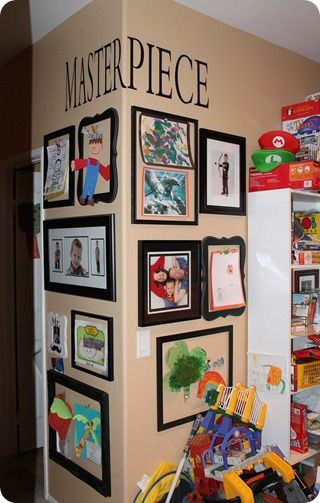 A cool way to display your kids's school art. My son is my favorite student!