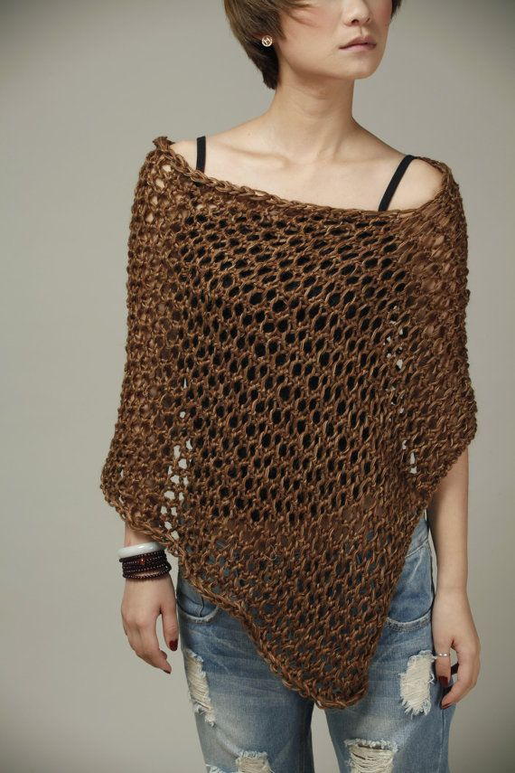 Little cotton poncho/ scarf/ capelet in coffee by MaxMelody, $48.00