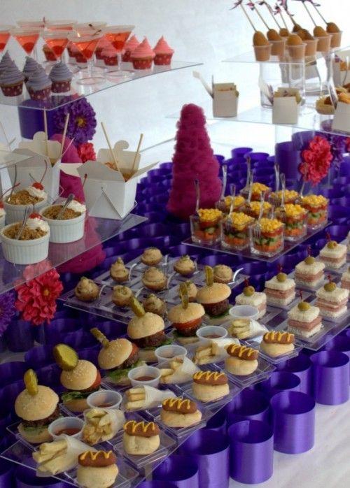 35 Awesome Wedding Food Bar Ideas For Any Taste. LOVE the milkshake and fruit pizza bar ideas :)