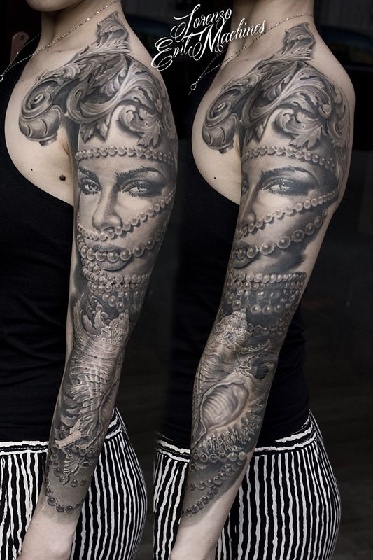 Woman, Shell, Pearls and Beauty Realistic Tattoo by Lorenzo Evil Machines, Roma - Italia
