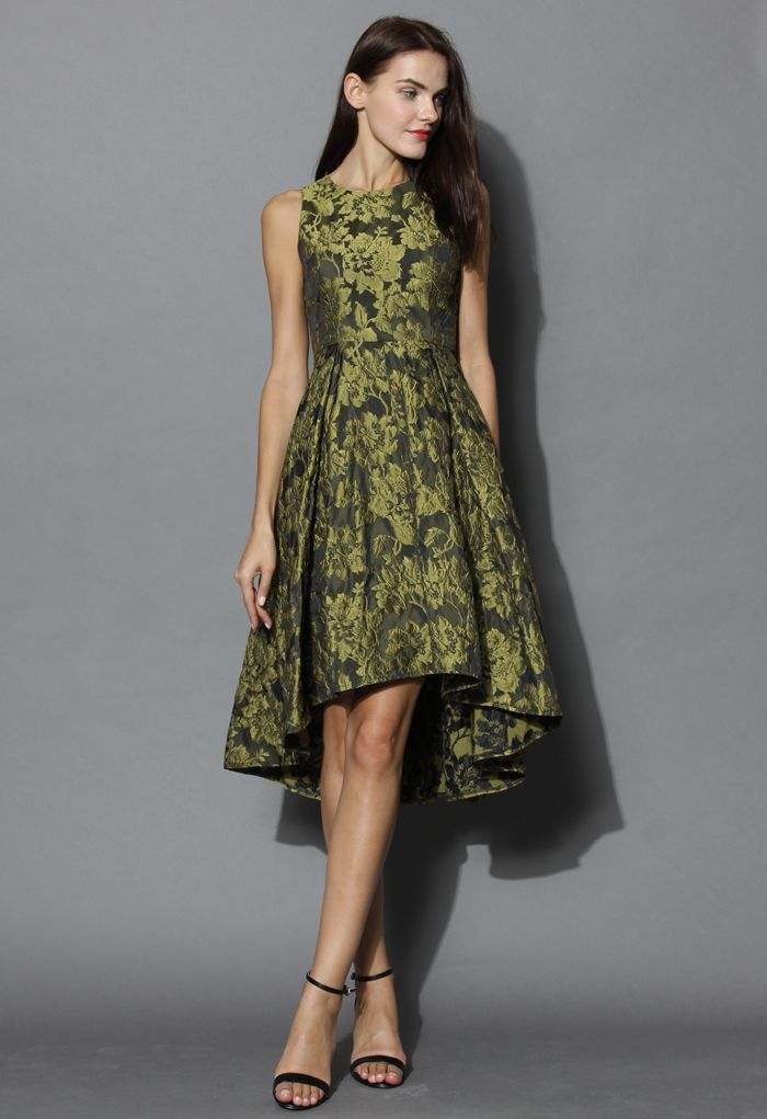 Golden Floral Jacquard Waterfall Dress - New Arrivals - Retro, Indie and Unique Fashion