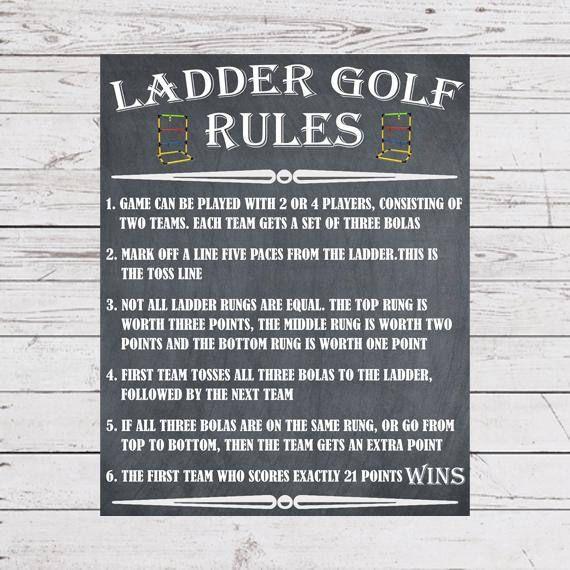 Yard Games Ladder Golf Sign Poster Ladder Golf Rules Outdoor