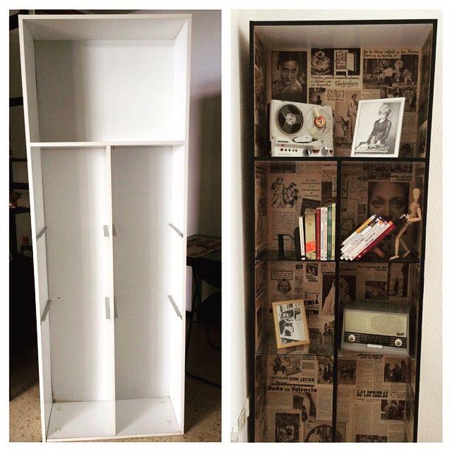 Periódico antiguo, cola y pintura. #reciclando