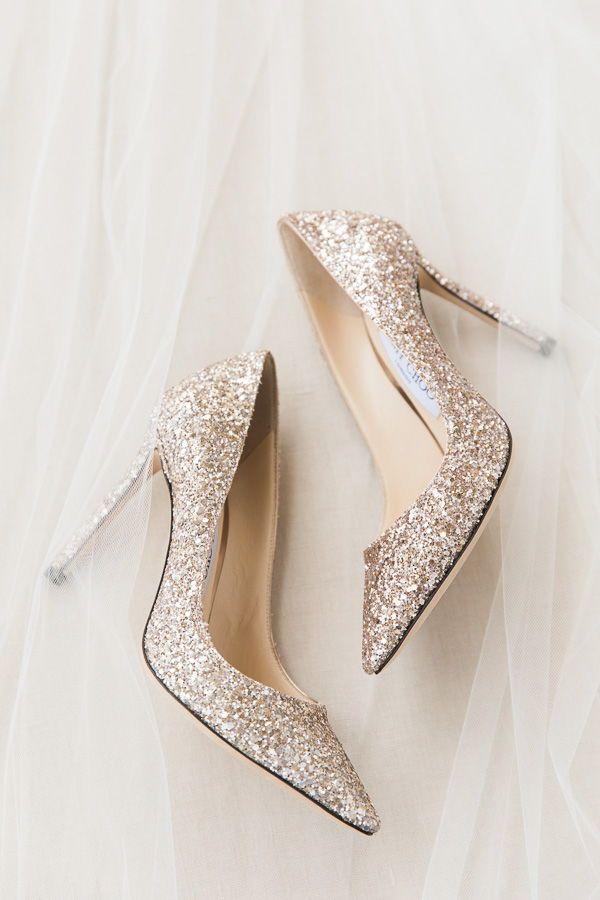 9b25abadd Gold sparkle jimmy choo wedding day shoes! Any bride wanting to feel like a  princess would love to wear these with her wedding gown!