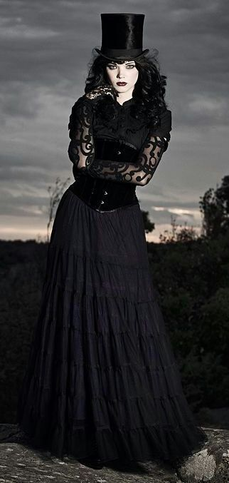 Black Corset with Top Hat and skirt Steampunk | Beauty | Goth