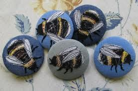 embroidered bee buttons