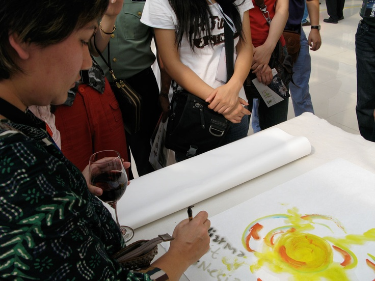 Chinese painting on the spot