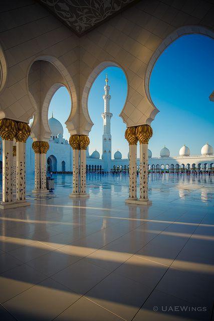 Sheikh Zayed MosqueAbu Dhabi  UAE Arch Framing SkyIslam Muslim Architecture Exterior Shadow