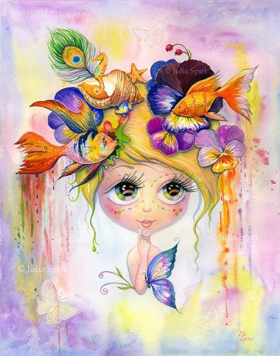 "Watercolor Painting ""Whimsy""Instant Download printable artwork. Please note, that no physical item will be sent.1 JREG, high resolution 300 dpi.   Size: 12,6 x 16 inches (32cm x 41cm)"