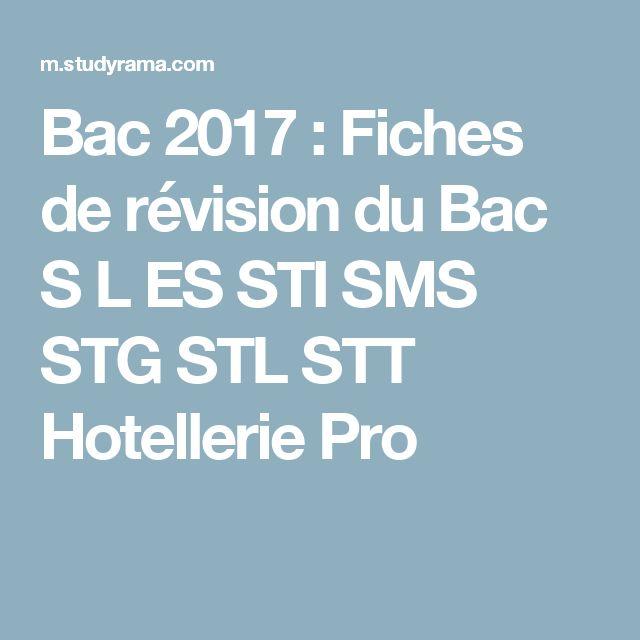 Bac 2017 : Fiches de révision du Bac S L ES STI SMS STG STL STT Hotellerie Pro