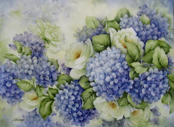 """Hydrangeas with White Roses painted on 14""""x12"""" porcelain tile"""