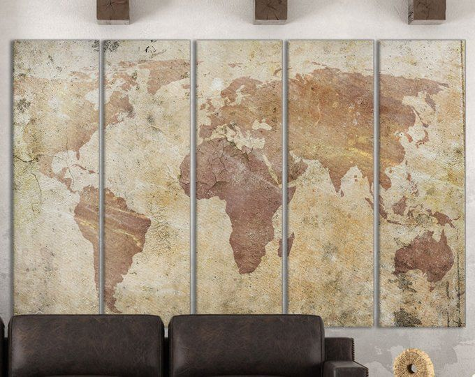 Cracked World Map Artwork Leather Print Vintage World Map Wall Art