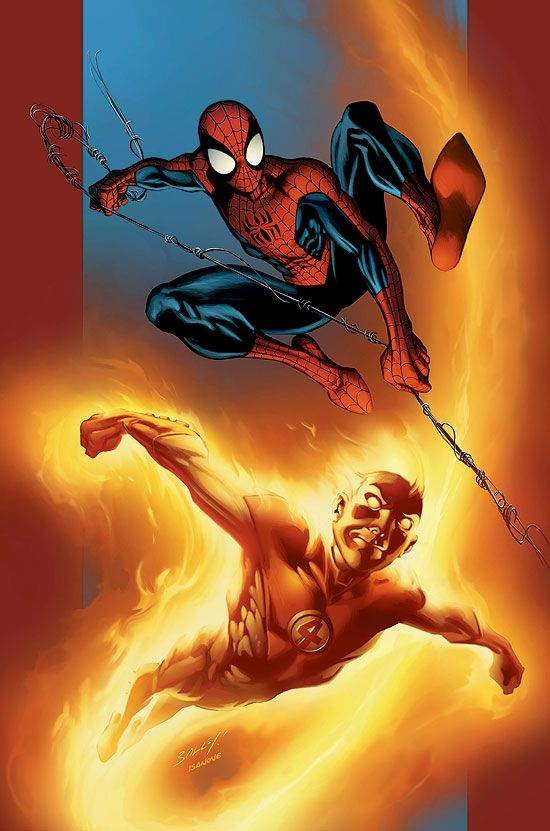 Ultimate Spider-Man and Torch by Mark Bagley