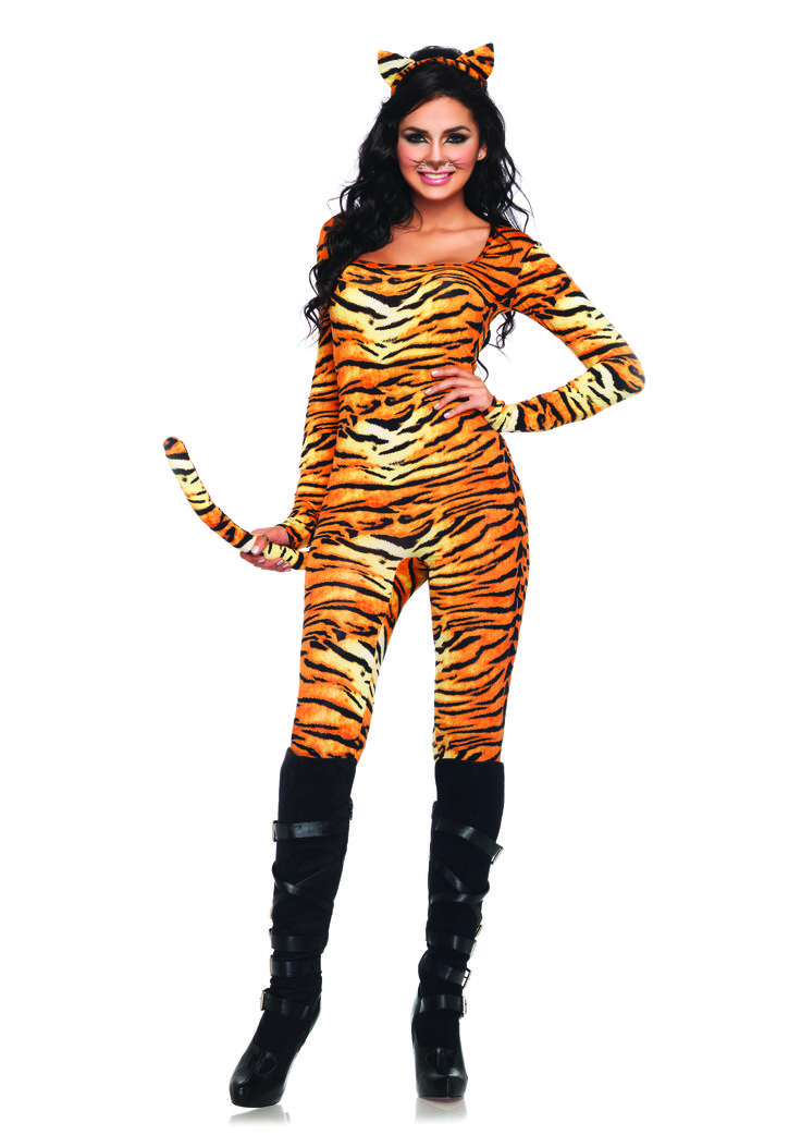 Wild Tigress, includes tiger print spandex cat suit with attached tail and matching ear headband. Available in store only. #Tiger #Costume