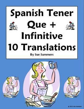 spanish tener que infinitive sentence translations spanish summer and worksheets. Black Bedroom Furniture Sets. Home Design Ideas