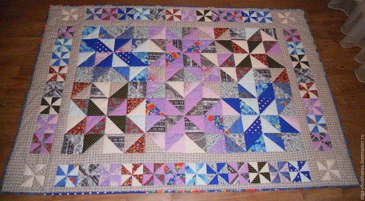 """Купить Лоскутное покрывало, одеяло """"Лоскутная мозаика"""" (вар. 2), 143х206 см - лоскутное одеяло"""