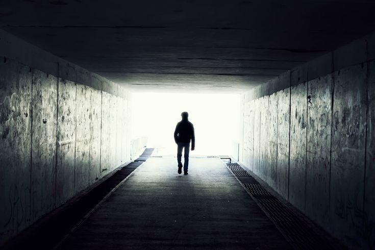 Alone.  #walking #portrait #silhouette #dark #light #attheendofthetunnel
