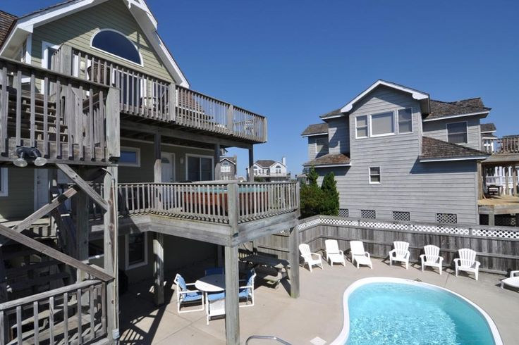 SS26: Just Lovin Sun.  6 bedrooms on the Oceanside in Nags Head. Only Four Lots Back from the beach in the Village at Nags Head. 11' x 25' private pool, hot tub on the deck. Jetted tub, grill, beach chairs, foosball, outside shower.   TVs, DVD player and WiFi.  Parking 5-6 cars. Non-Smoking. No Pets.