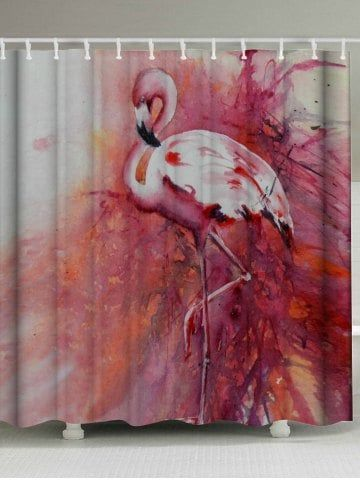 Exceptionnel Waterproof Flamingo Shower Curtain With Hooks