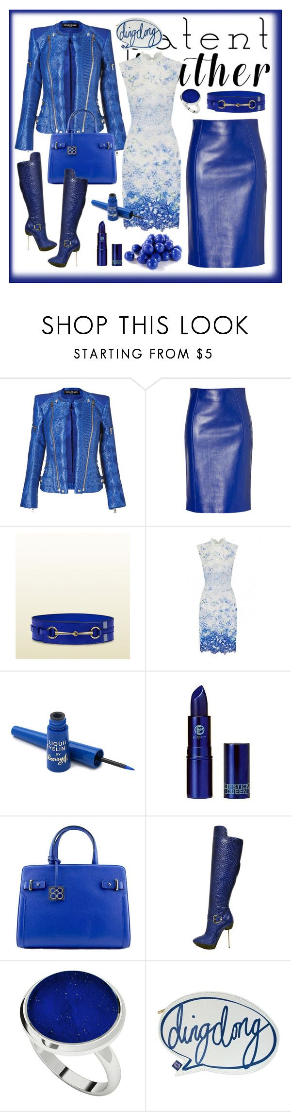 """""""City Slickers: Blue Patent Leather"""" by farrahdyna ❤ liked on Polyvore featuring Balmain, Versace, Gucci, Barry M, Lipstick Queen, StyleRocks, Disaster Designs, Blue, patentleather and bluetiful"""