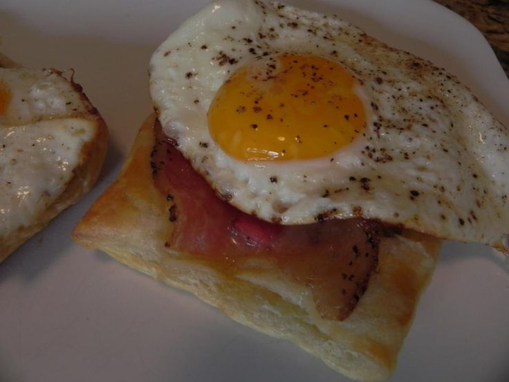fried egg and bacon puff pastry breakfast items fried eggs puff ...