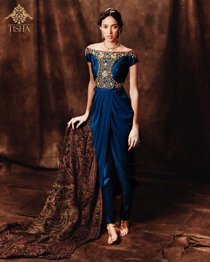 Tisha by Tisha Saksena Indigo silk drape paired with cigarette pants.  #tishasaksena #whitemughals #35meherchand