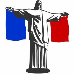 Frankreich Jesus in Rio - Die Jesus Statue Cristo Redentor in Rio de Janeiro mit der franz�sischen Fahne, passend zur Fu�ball Weltmeisterschaft in Brasilien.