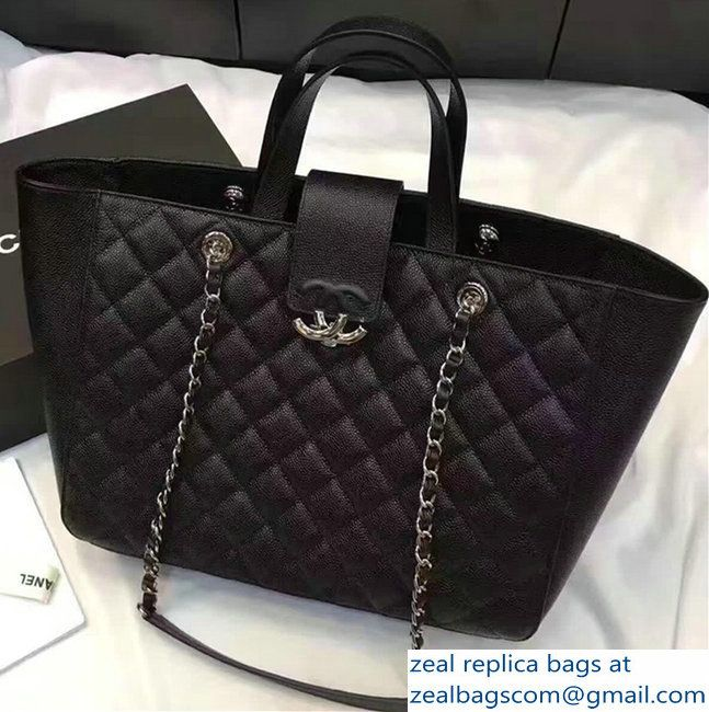 Chanel Grained Calfskin Large Shopping Bag Black A98665 2017