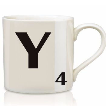 Scrabble Mug Y: Scrabble mugs – collect the set for when you have 25 friends round for tea.