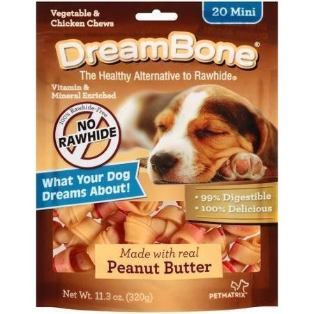 Dreambone Real Peanut Butter Flavored Vegetable and Chicken Dog Chew Treats (Rawhide Free) 11oz-12oz Bag (Pack of 3 Bags) Select Treat Size Below >>> See this awesome image  : Dog Food