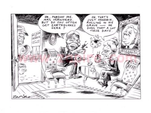 Zapiro: Nelson Mandela talking to previous first lady- Betsie Verwoerd