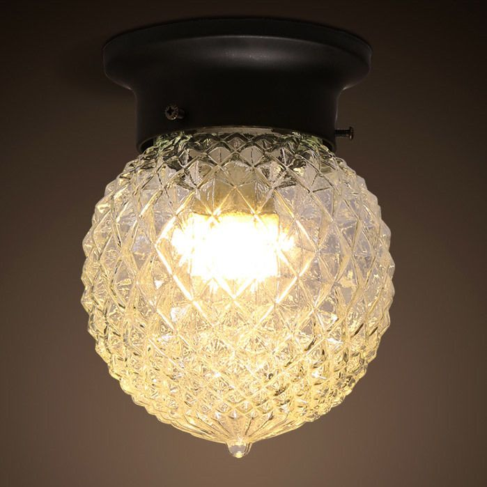Modern globe glass shade 1 light semi flush mount with round canopy bedroom ceiling lightsceiling fan chandelierled
