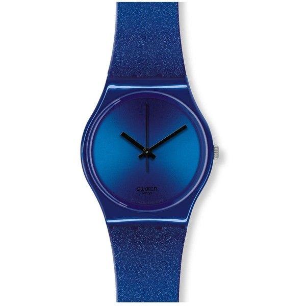 Swatch Originals Intense Blue Dial Silicone Unisex Watch (1,910 THB) ❤ liked on Polyvore featuring jewelry, watches, swatch wrist watch, blue dial watches, glitter jewelry, silicon watches and analog watches