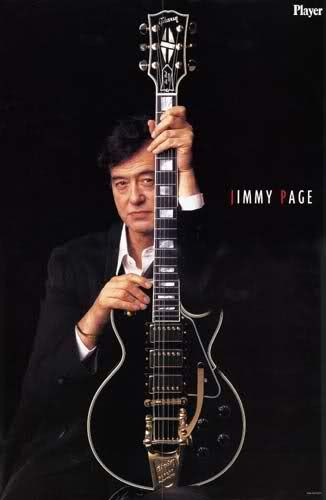 """Jimmy Page with his namesake """"Black Beauty"""" Gibson Les Paul Custom with Bigsby. Gibson based it on the original 1960 Les Paul Black Beauty that was stolen from Jimmy in 1970 and was never recovered."""