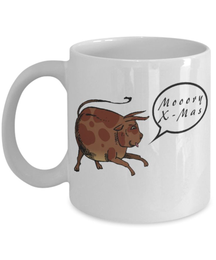 Mooory X-mas Cow Coffee Mug #christmascoffeemug #x-mascoffeemug #holidaycoffeemug
