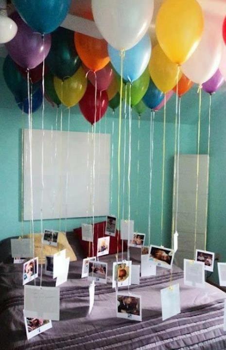 Surpresa com balões e fotos